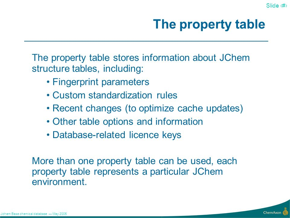 The property table The property table stores information about JChem structure tables, including: Fingerprint parameters.