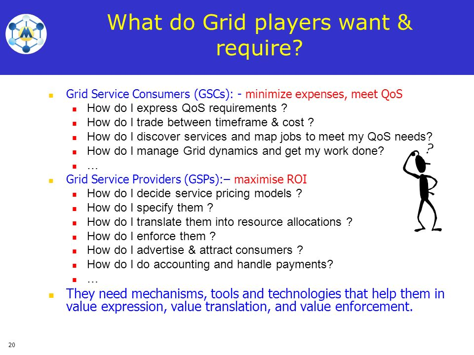 What do Grid players want & require