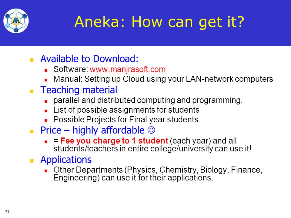 Aneka: How can get it Available to Download: Teaching material
