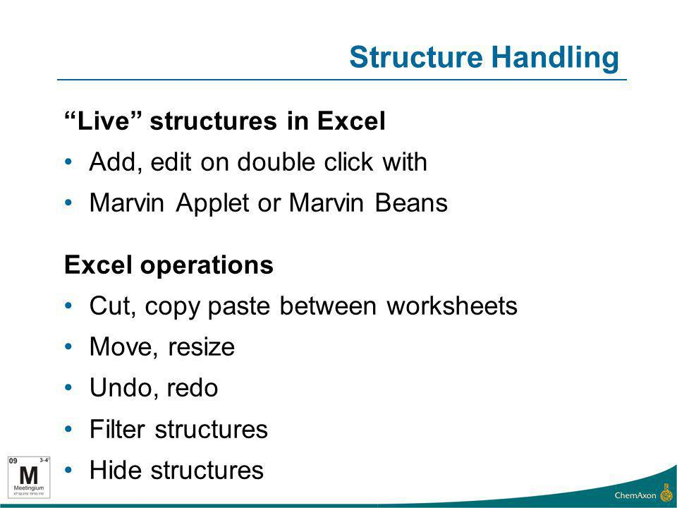 Structure Handling Live structures in Excel