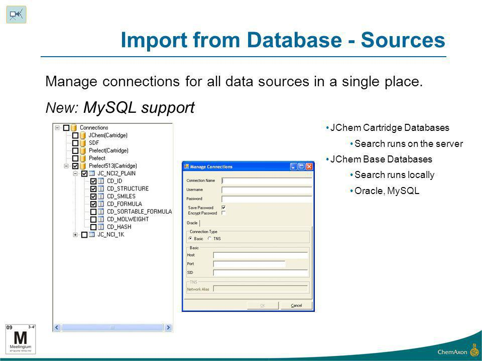 Import from Database - Sources