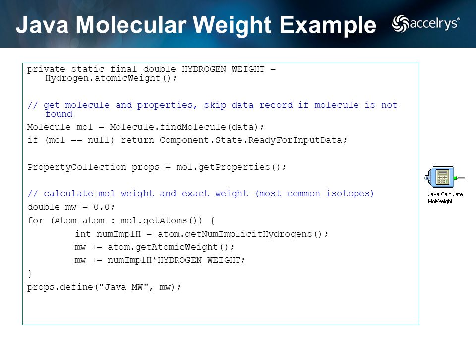 Java Molecular Weight Example