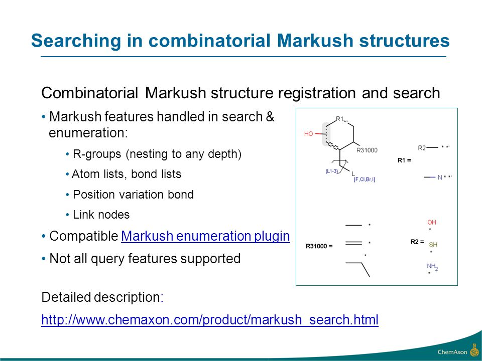 Searching in combinatorial Markush structures
