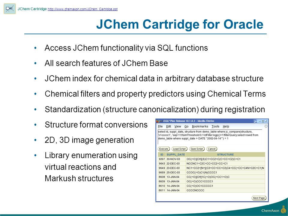 JChem Cartridge for Oracle
