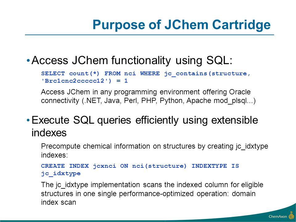 Purpose of JChem Cartridge