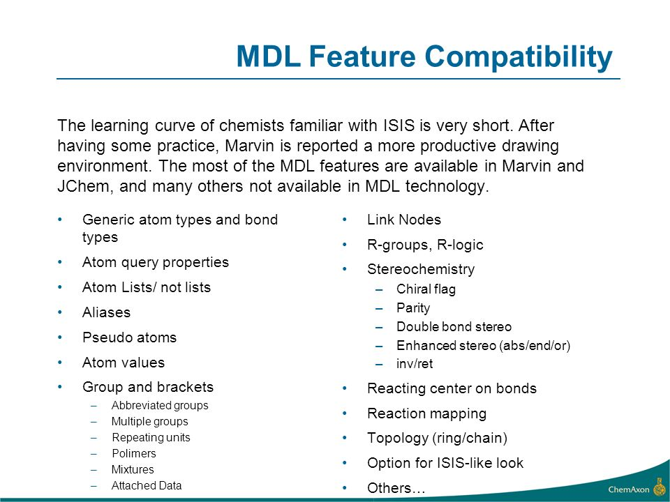 MDL Feature Compatibility
