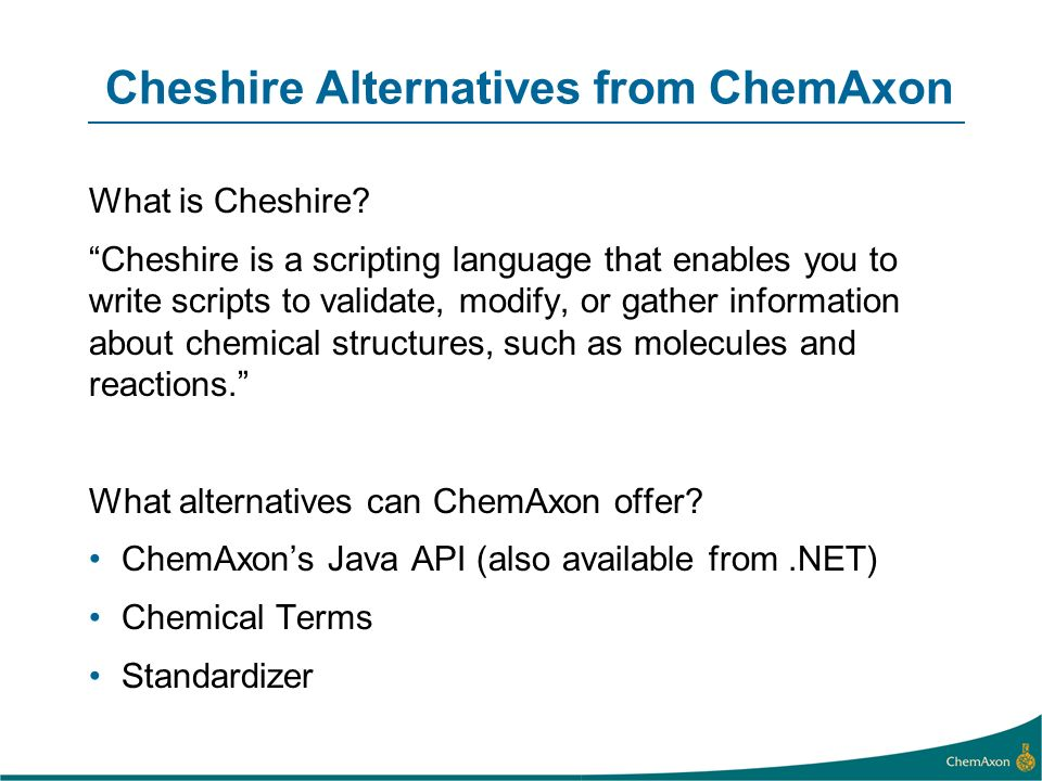 Cheshire Alternatives from ChemAxon