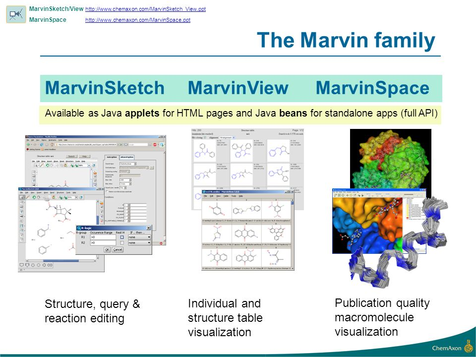 The Marvin family MarvinSketch MarvinView MarvinSpace