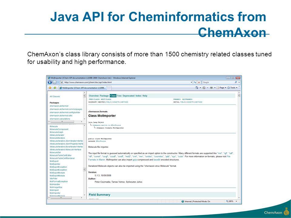 Java API for Cheminformatics from ChemAxon