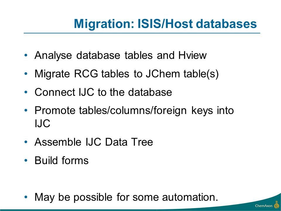 Migration: ISIS/Host databases