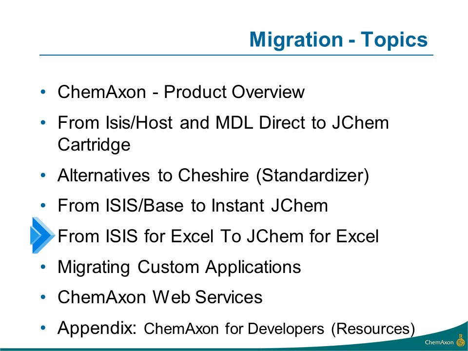 Migration - Topics ChemAxon - Product Overview