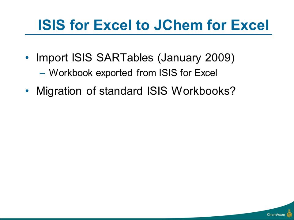 ISIS for Excel to JChem for Excel