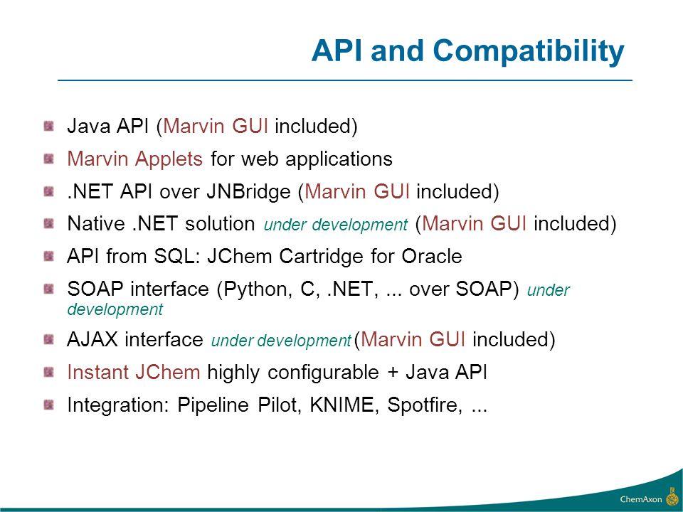 API and Compatibility Java API (Marvin GUI included)