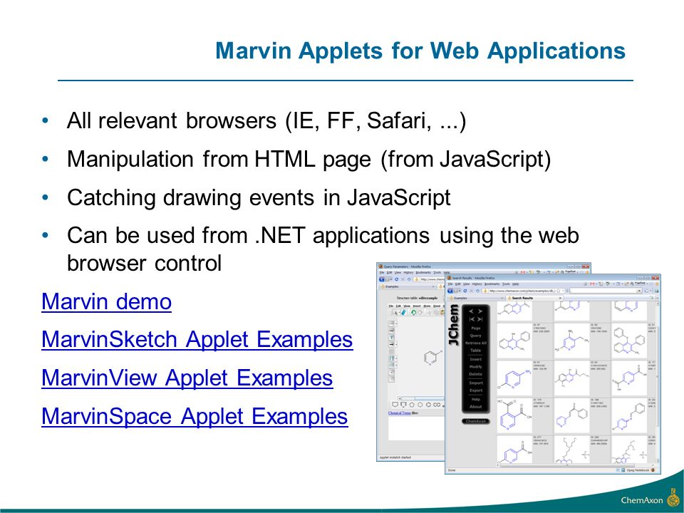 Marvin Applets for Web Applications