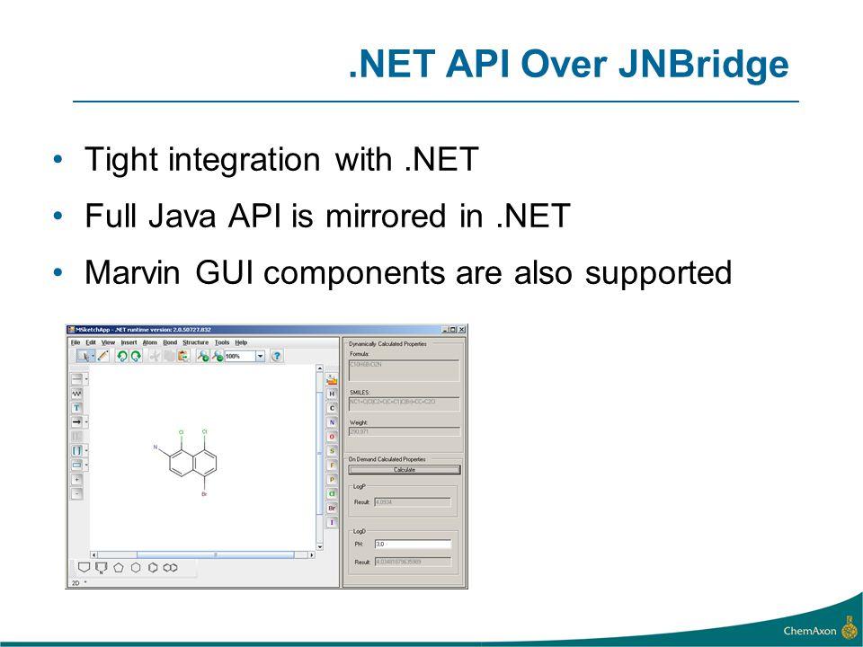 .NET API Over JNBridge Tight integration with .NET