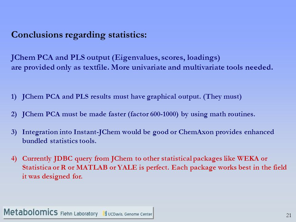 Conclusions regarding statistics: