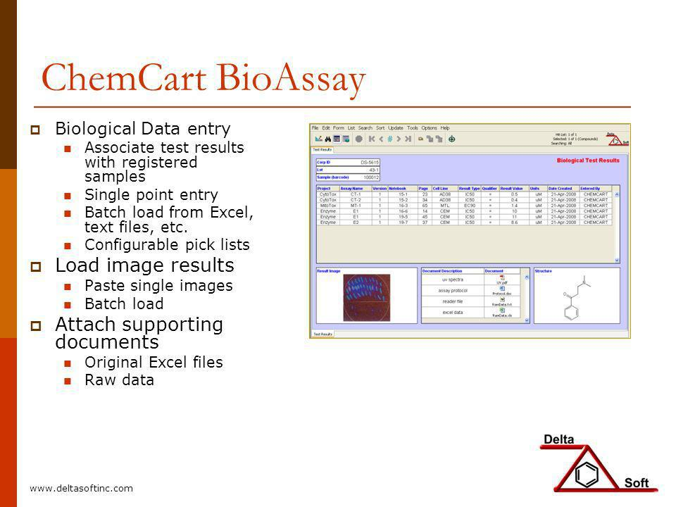 ChemCart BioAssay Load image results Attach supporting documents