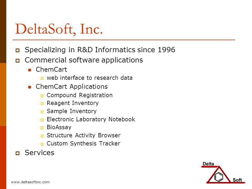 DeltaSoft, Inc. Specializing in R&D Informatics since 1996