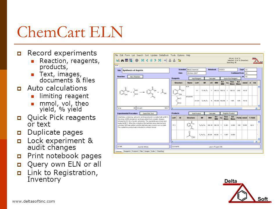 ChemCart ELN Record experiments Auto calculations