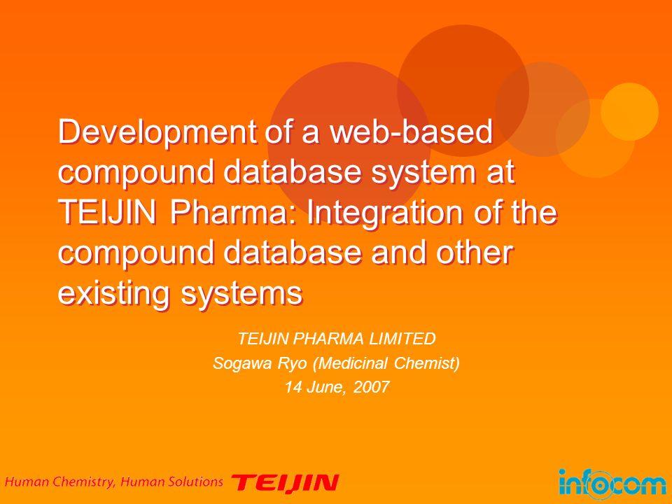 TEIJIN PHARMA LIMITED Sogawa Ryo (Medicinal Chemist) 14 June, 2007