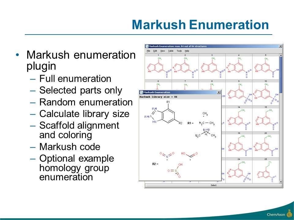 Markush Enumeration Markush enumeration plugin Full enumeration