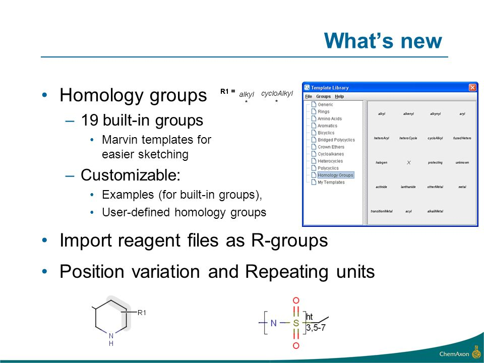 What's new Homology groups Import reagent files as R-groups