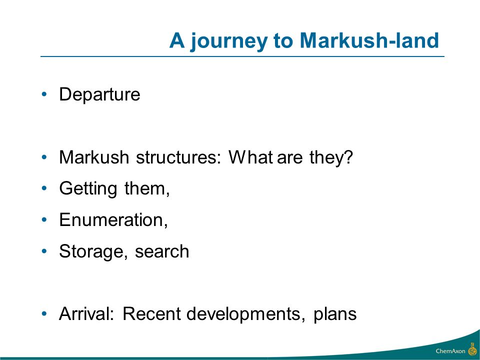 A journey to Markush-land