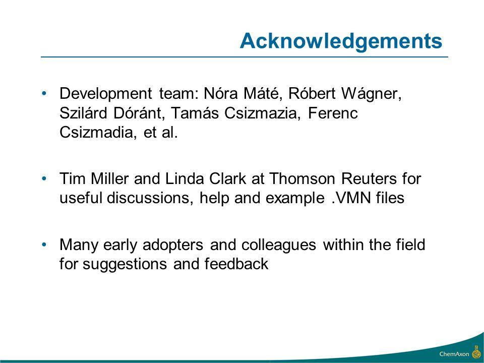Acknowledgements Development team: Nóra Máté, Róbert Wágner, Szilárd Dóránt, Tamás Csizmazia, Ferenc Csizmadia, et al.