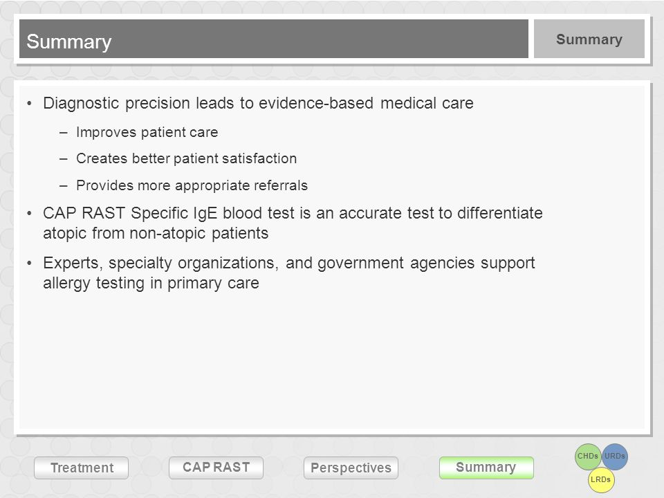 Summary Diagnostic precision leads to evidence-based medical care
