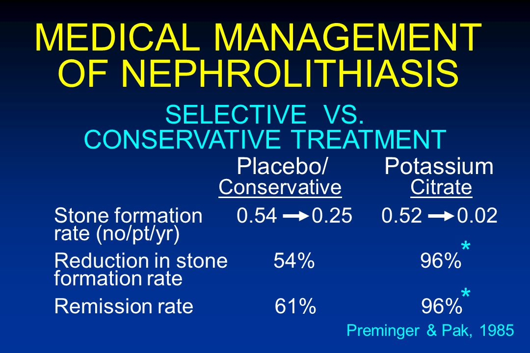 MEDICAL MANAGEMENT OF NEPHROLITHIASIS