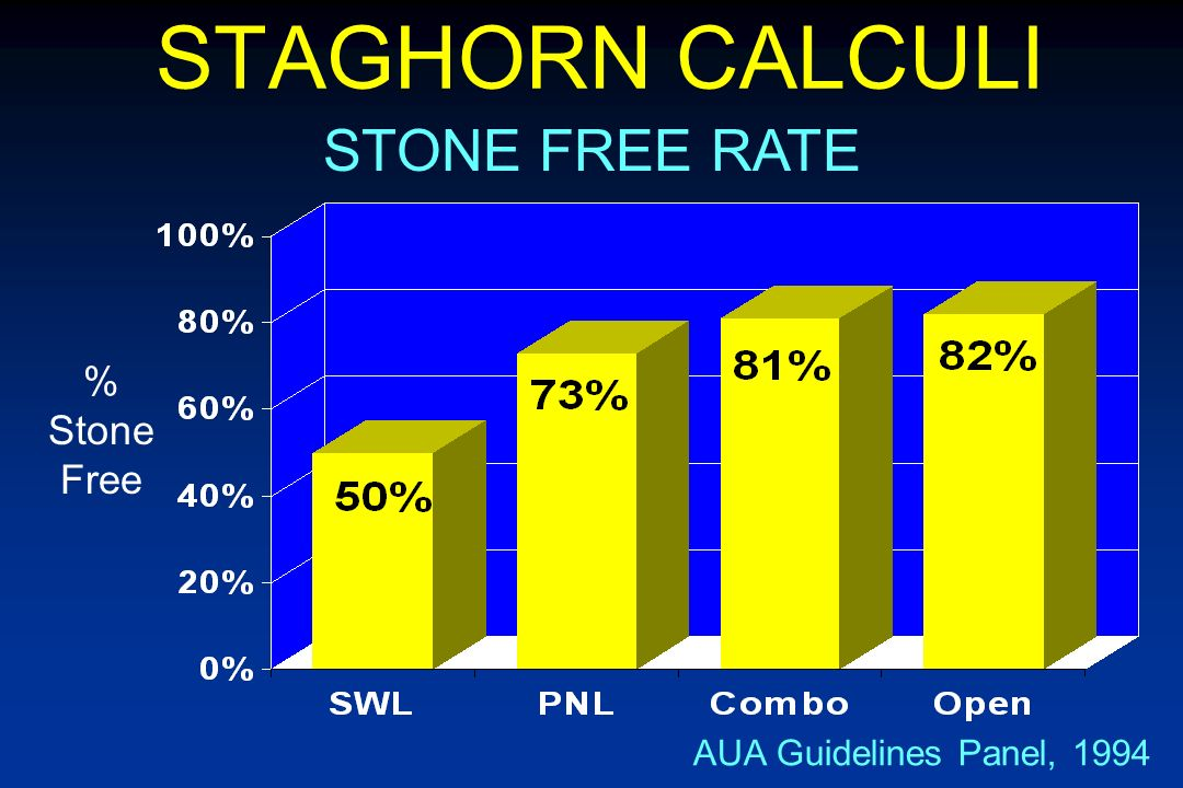 STAGHORN CALCULI STONE FREE RATE % Stone Free