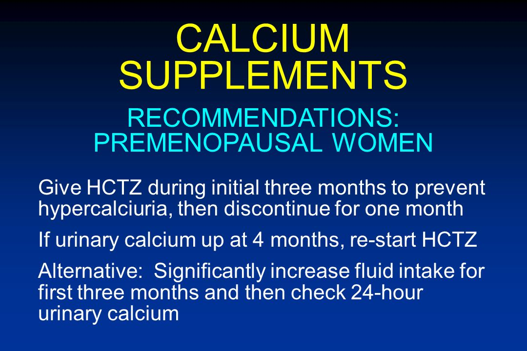 RECOMMENDATIONS: PREMENOPAUSAL WOMEN