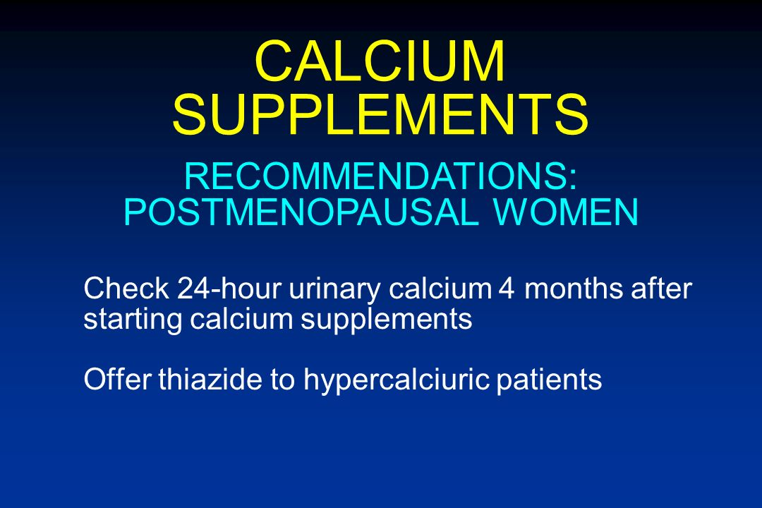 RECOMMENDATIONS: POSTMENOPAUSAL WOMEN