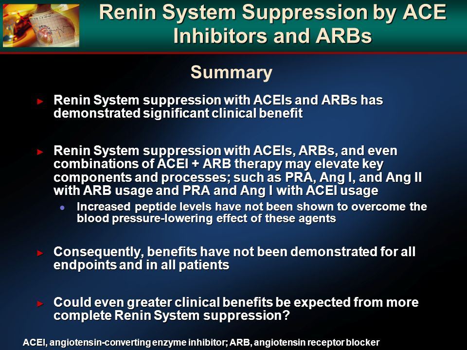 Renin System Suppression by ACE Inhibitors and ARBs