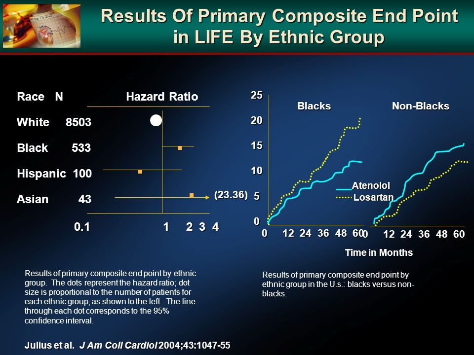 Results Of Primary Composite End Point in LIFE By Ethnic Group