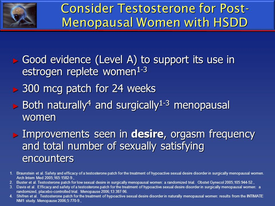 Consider Testosterone for Post-Menopausal Women with HSDD