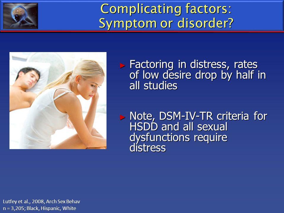 Complicating factors: Symptom or disorder