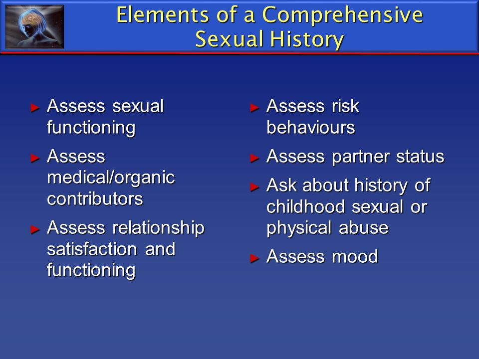 Elements of a Comprehensive Sexual History