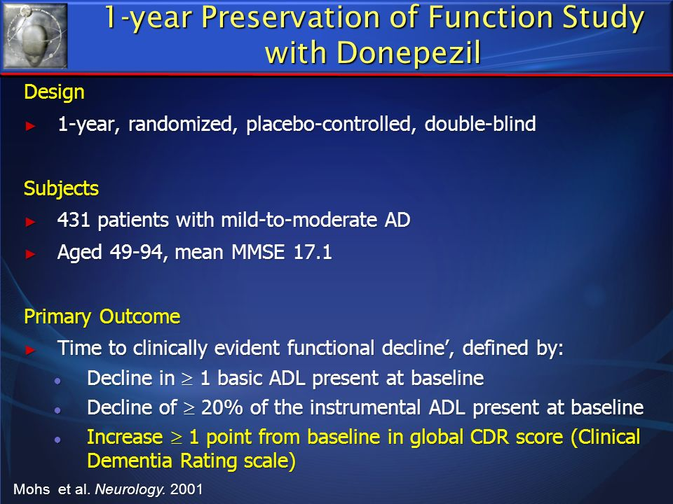 1-year Preservation of Function Study with Donepezil