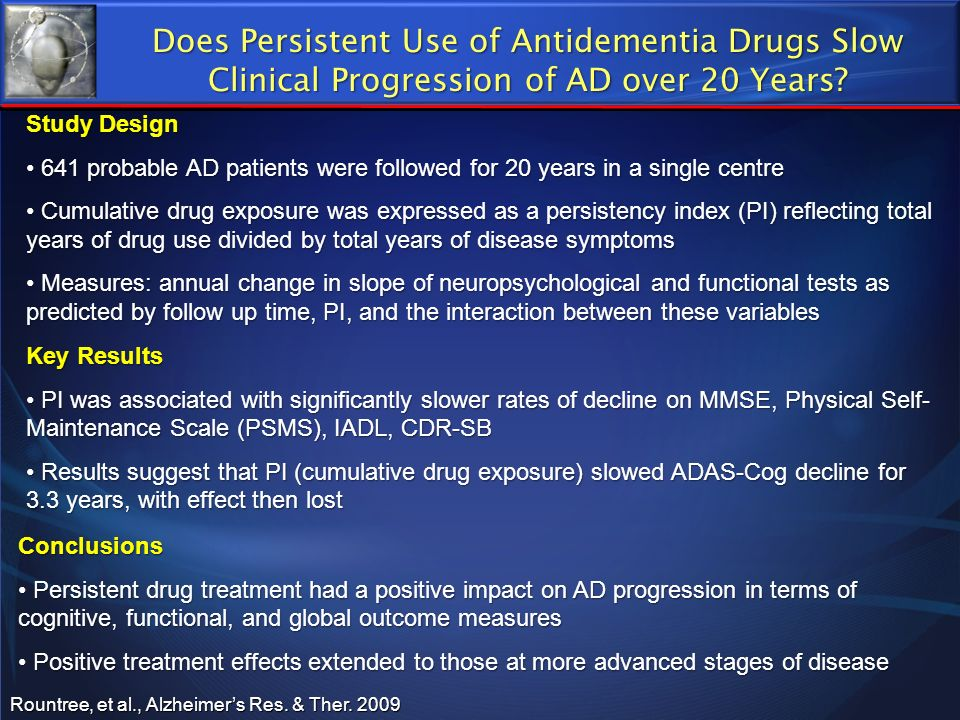 Does Persistent Use of Antidementia Drugs Slow Clinical Progression of AD over 20 Years