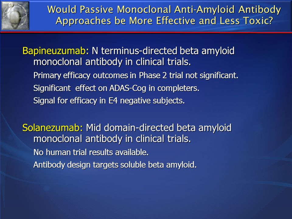 Would Passive Monoclonal Anti-Amyloid Antibody Approaches be More Effective and Less Toxic
