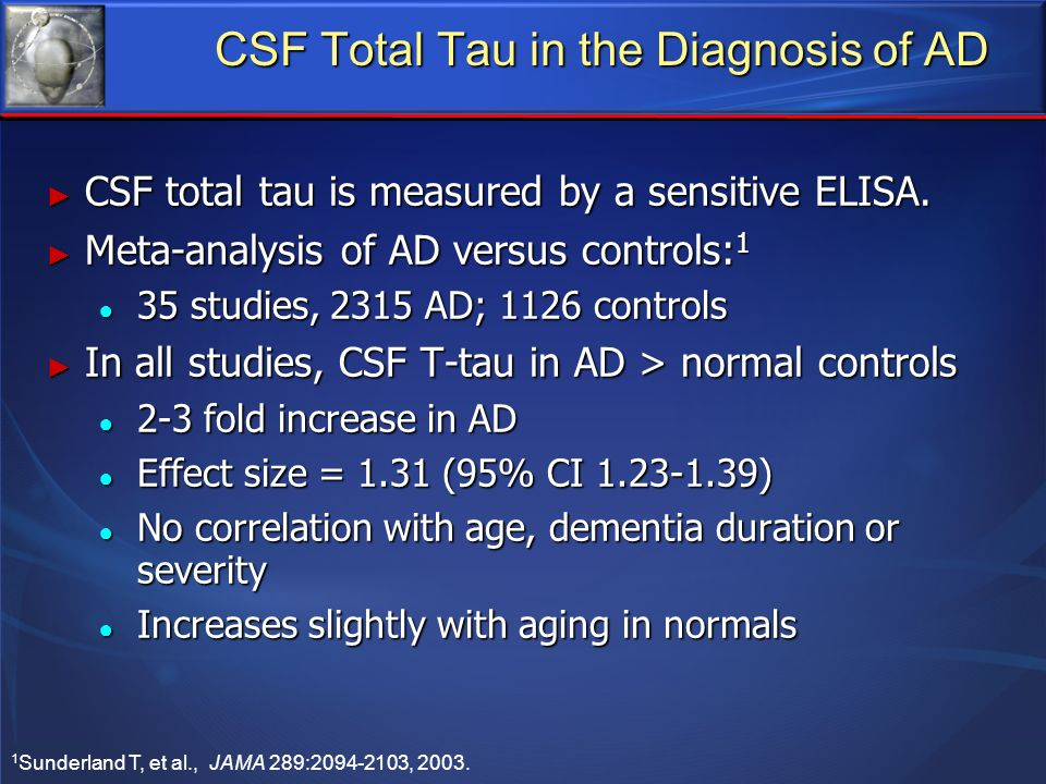 CSF Total Tau in the Diagnosis of AD