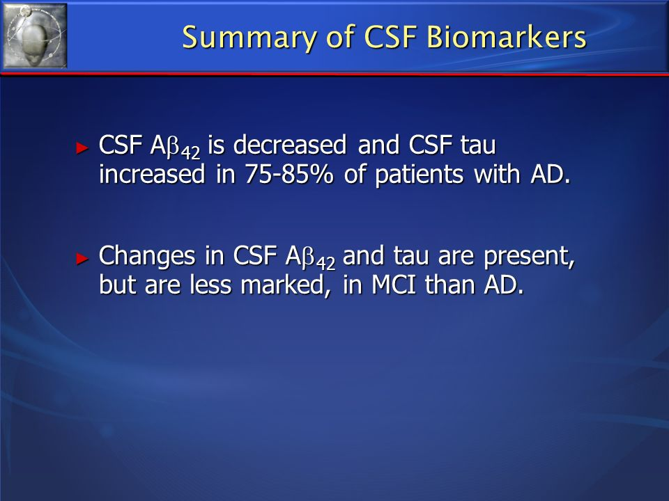 Summary of CSF Biomarkers