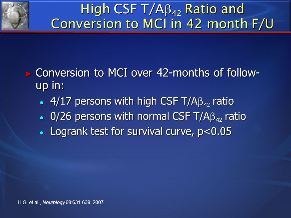 High CSF T/A42 Ratio and Conversion to MCI in 42 month F/U