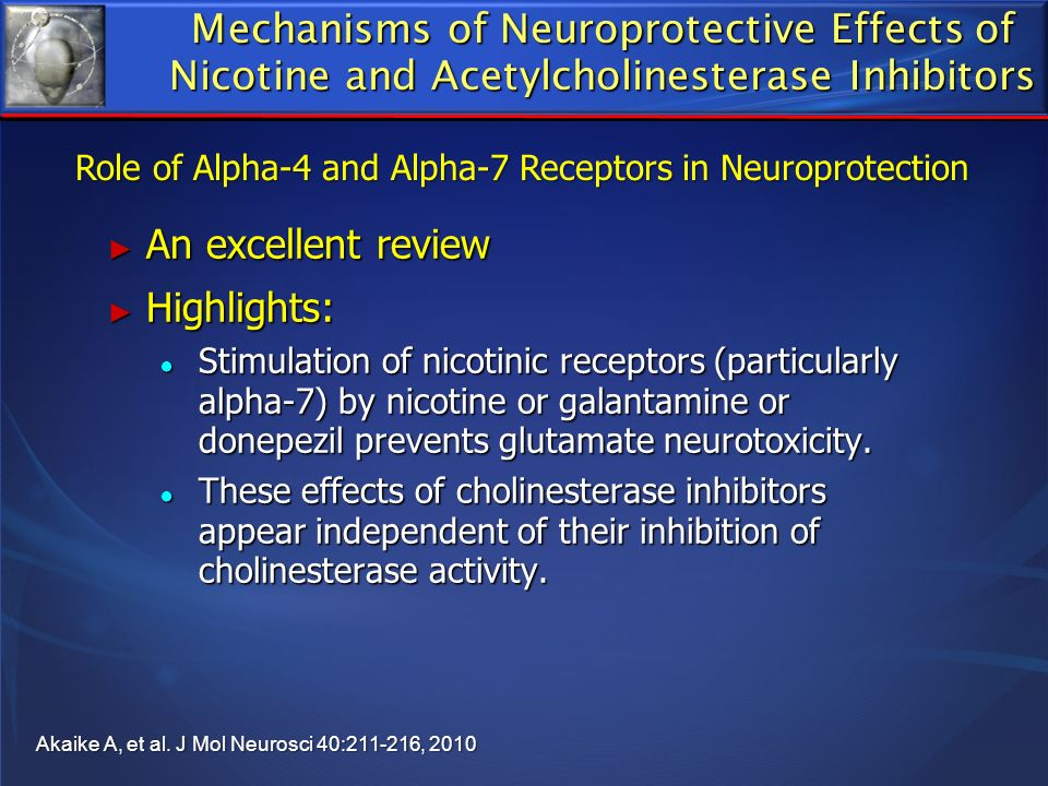 Mechanisms of Neuroprotective Effects of Nicotine and Acetylcholinesterase Inhibitors