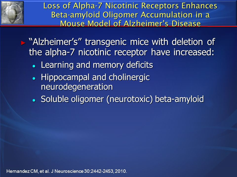 Loss of Alpha-7 Nicotinic Receptors Enhances Beta-amyloid Oligomer Accumulation in a Mouse Model of Alzheimer's Disease