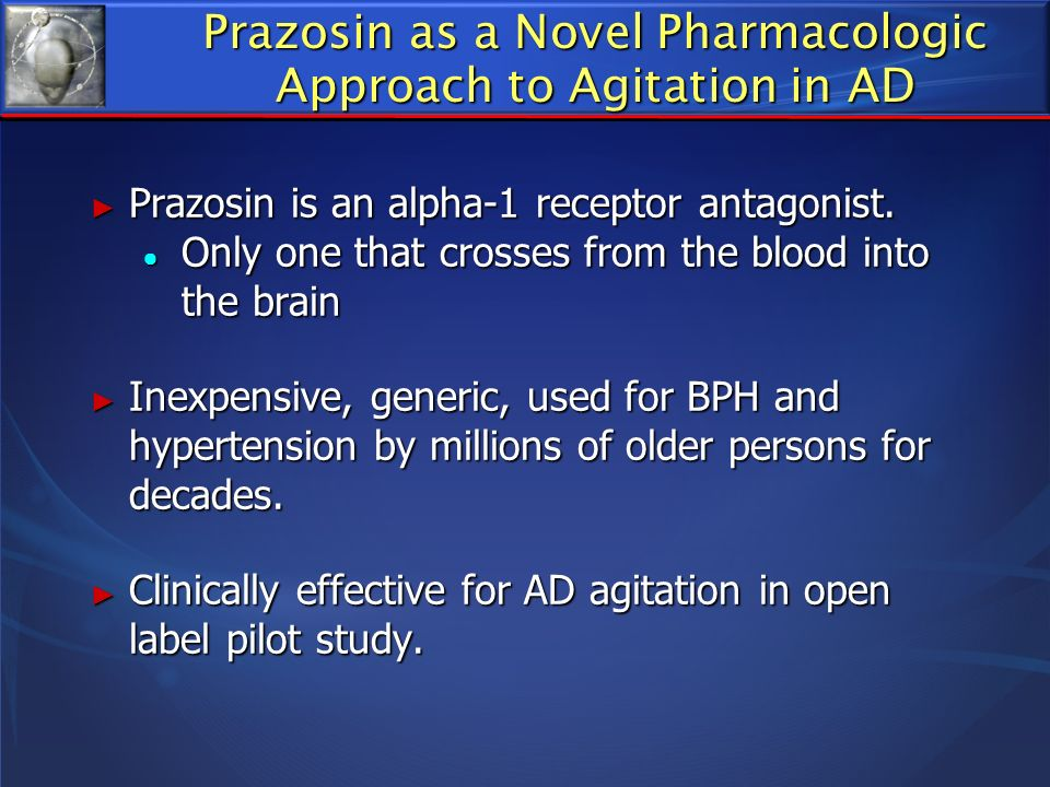 Prazosin as a Novel Pharmacologic Approach to Agitation in AD