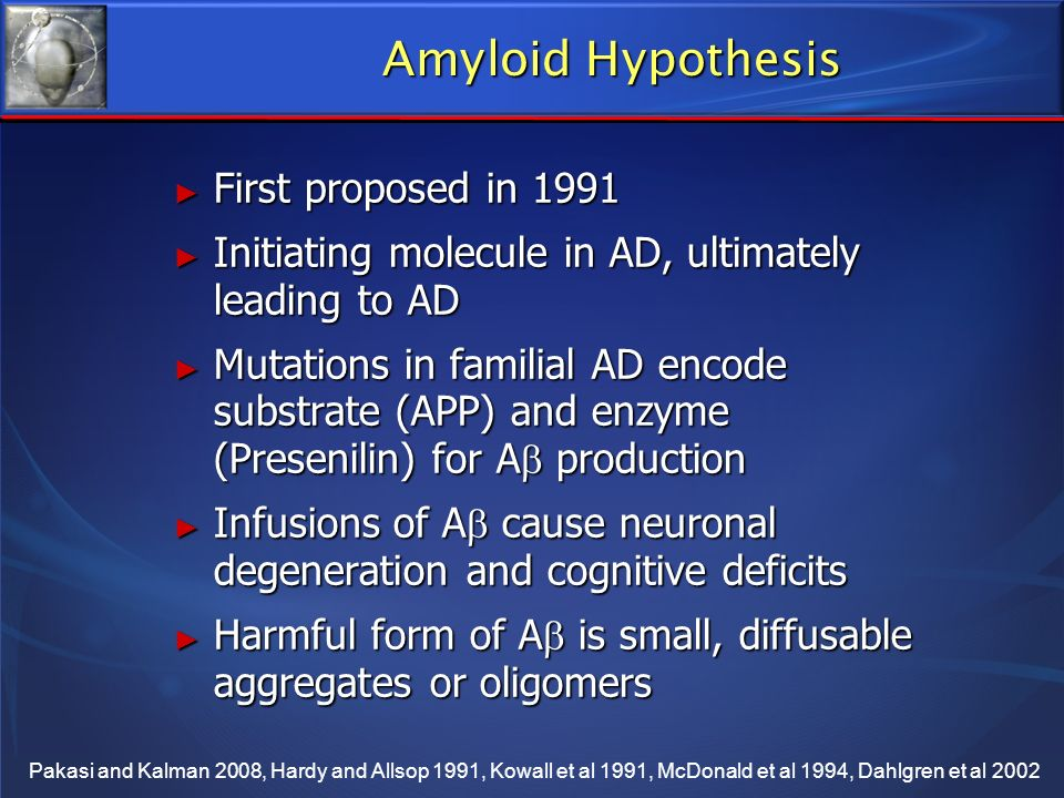 Amyloid Hypothesis First proposed in 1991