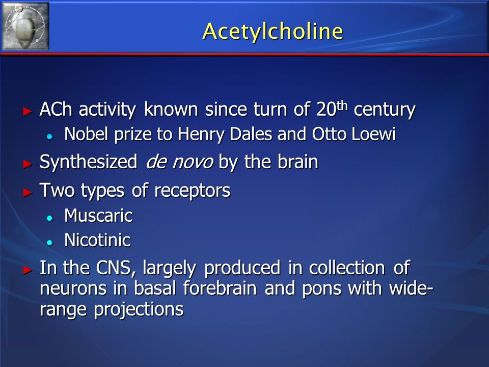 Acetylcholine ACh activity known since turn of 20th century