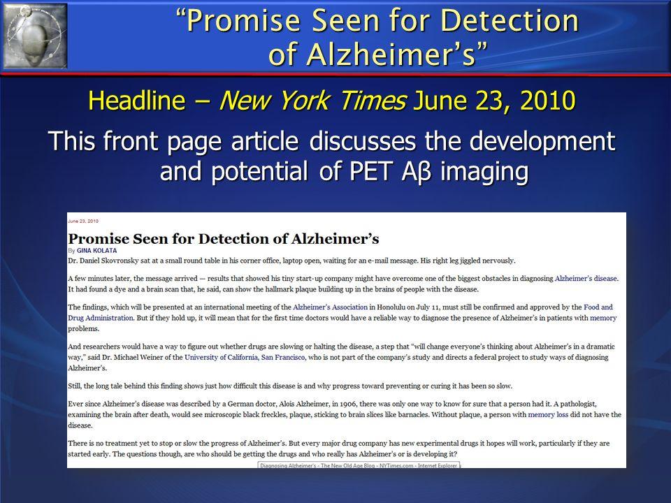 Promise Seen for Detection of Alzheimer's